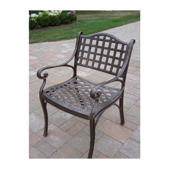 Oakland Living Elite Cast Aluminum Arm Chair - Rust Free Cast Aluminum Construction Hardened Powder Coat Finish in Antique Bronze for Years of Beauty Easy to Follow Assembly Instructions and Product Care Information - patio-furniture, patio-chairs, patio - 51sp ZZg6KL. SS570  -