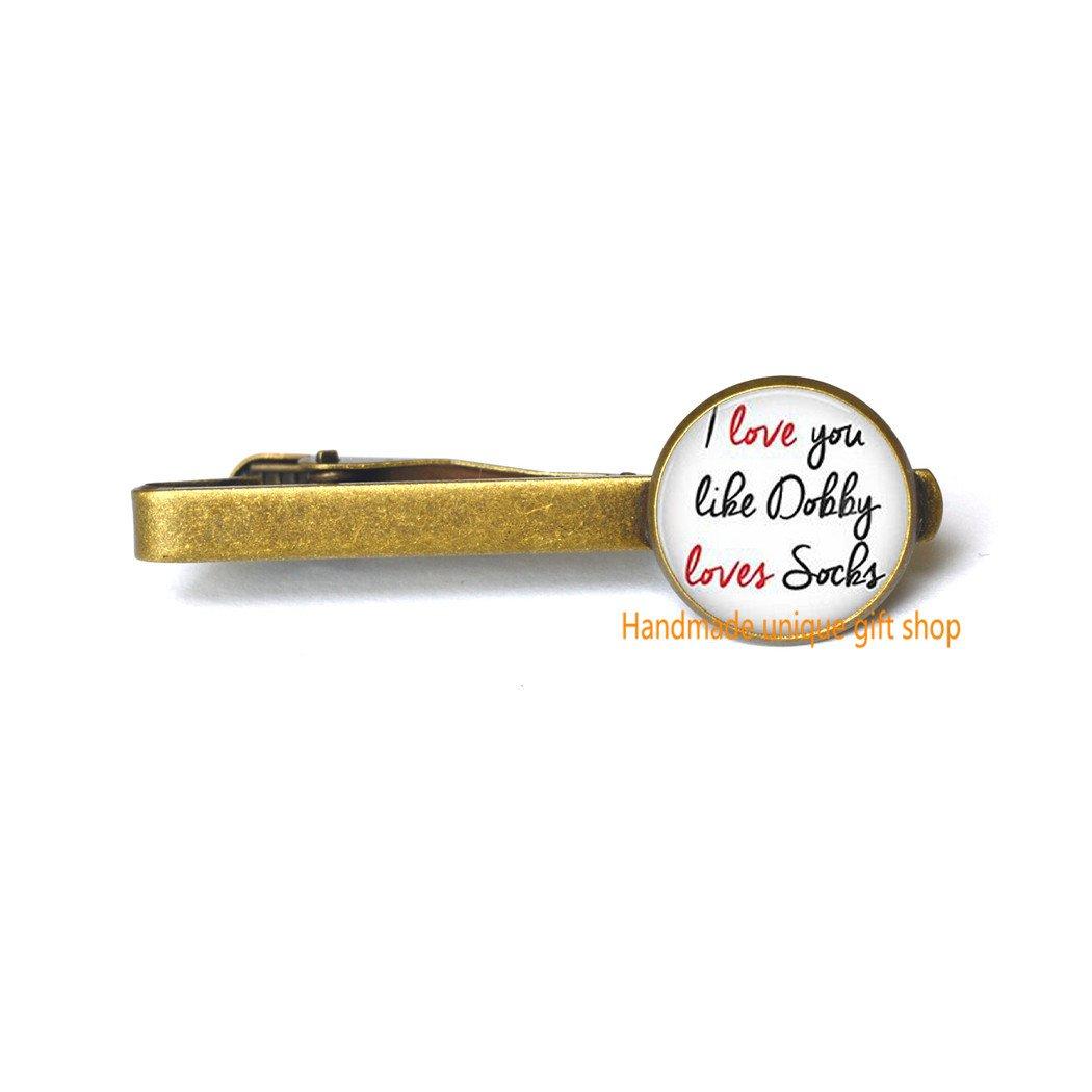 Handmade unique gift shop Delicate Tie Clip,Fashion Tie Clip,Dobby Tie Clip I Love You Like Dobby Loves Socks Tie Pin,Quote Tie Clip-RC117