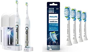 Philips Sonicare FlexCare Whitening Edition Rechargeable Toothbrush 2 Count Bundle & Genuine Philips Sonicare C3 Premium Plaque Control Toothbrush Head, HX9044/65, 4 pk, White