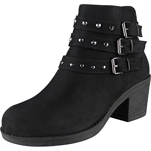 Ladies Faux Suede Zip Mid Heel Buckle Work Ankle Bow Boots Size 3-8 Black