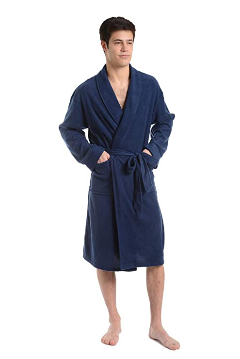 Cherokee Men Cozy Plush Robe Navy Medium best men's bath robe
