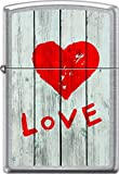 Zippo Love Heart Graffti On Grey Wooden Fence Street Chrome WindProof Lighter