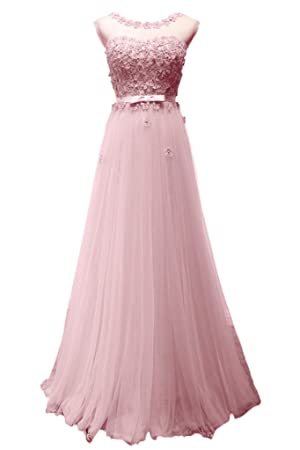 Avril Dress Exquisit Tulle Ball Applique Prom Sleeveless Bridesmaid Party Dress New-14-Pink
