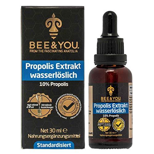 Bee&You Propolis Extrakt Tinktur Wasserlöslich 10% (30 ml) (ohne Alkohol, Standardisiert auf 10%, Fairer handel, Keine Zusatzstoffe)