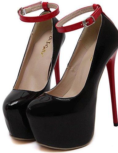 GGX/Damen Schuhe Kunstleder Sommer Heels/Plattform/offene Zehen/Ankle Strap Kleid Stiletto Ferse Schnalle black-us6 / eu36 / uk4 / cn36
