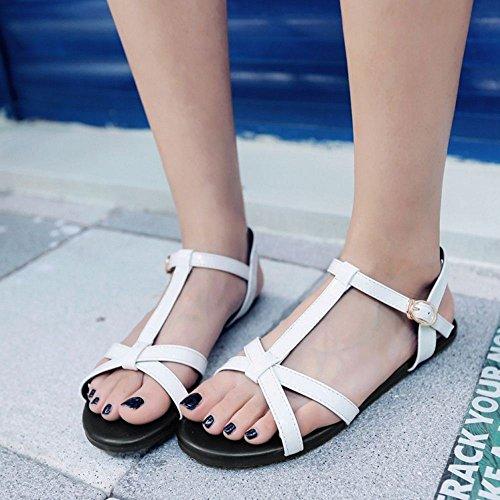 COOLCEPT Mujer Moda Correa En T Sandalias Punta Abierta Slingback Planos Zapatos Blanco