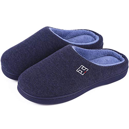 Men's and Women's Classic Memory Foam Plush House Slippers, Autumn Winter Breathable Indoor/Outdoor Shoes 38-39 (US Women's 7-8), Navy Blue