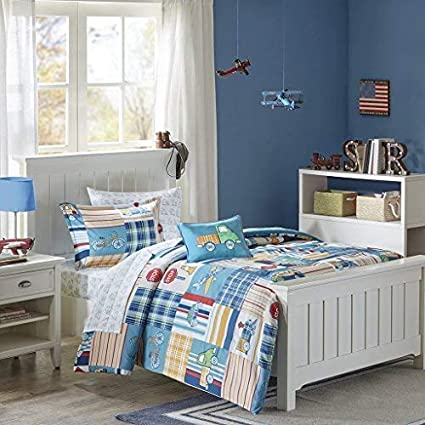 Mi Zone Kids Choo Choo Charlie Twin Kids Bedding Sets for Boys - Blue,  Parchwork Trains, Plane, Plaid – 6 Pieces Boy Comforter Set – Ultra Soft ...