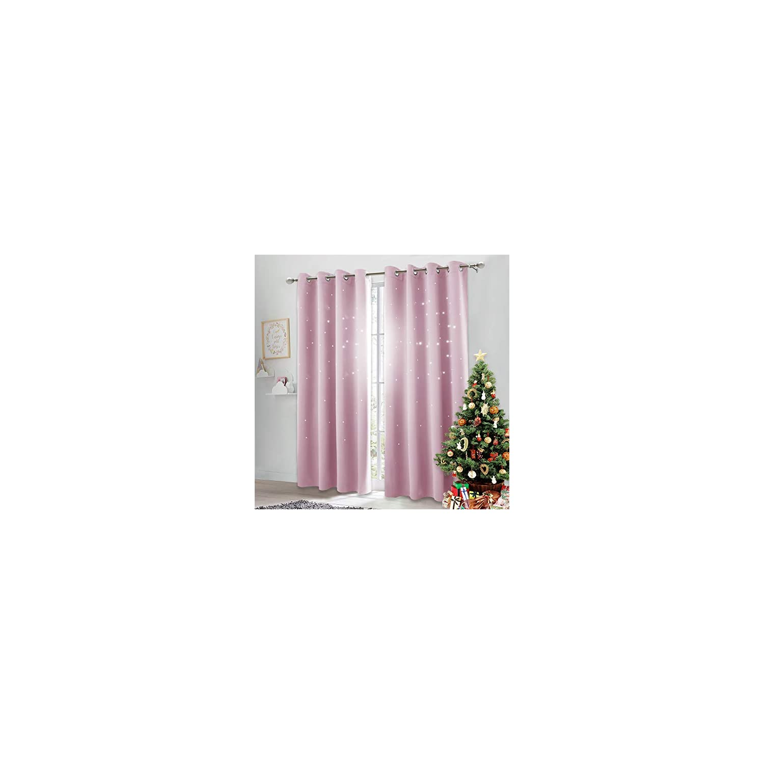 NICETOWN Star Cut Out Curtains – Die-Cut Star Blackout Drapes Window Treatment Draperies for Space Theme Bedroom (Lavender Pink=Baby Pink, 2 Panels, 52 inches x 84 inches)