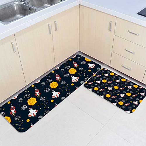 Fantasy Star 2 Piece Kitchen Rug Sets Floor Mats Non-Slip Rubber Backing Area Rugs Rocker Planet Big Dipper Doormat Washable Carpet Inside Door Mat Pad Sets (19.7