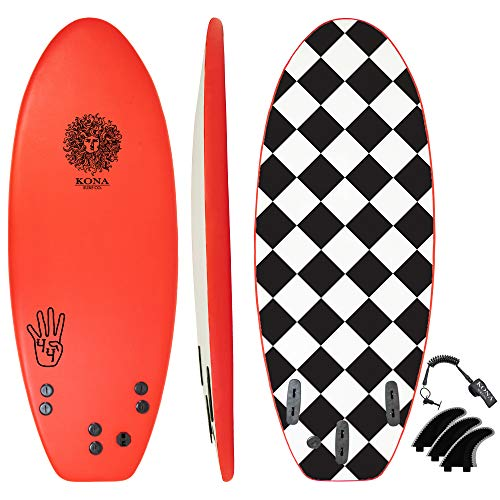 KONA SURF CO. The 4-4 Soft Top Foam Short Softboard Hybrid Boogie Bodyboard Surfboard Includes Fins and Leash in Red sz:4ft 4in
