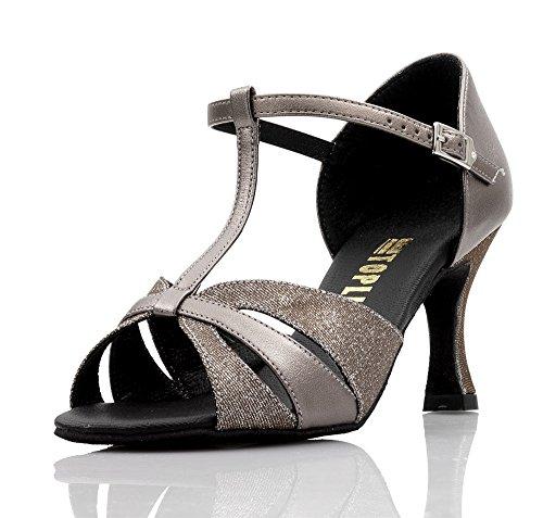 "Ladies All Colours Social Ballroom Dance Shoes GINA 2.5"" Flare Heel By Topline Katz Dancewear Gun Metal PU/Bronze Lurex"
