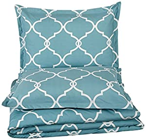 Pinzon 300-Thread-Count Cotton Percale Duvet Cover Set,Twin, Spa Blue