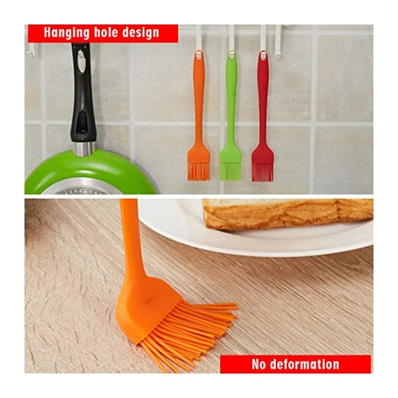 HOBOYER Silicone Basting/BBQ/Barbecue/Cooking/Pastry/Grill Meat Oil Brush, Food Grade Silicone Material Kitchen Gadgets High Temperature Brushes for Marinating, Cooking, Grilling,Baking (Orange) 3 【Material】The products use hiagh quality food grade silicone,BPA free,FDA Approved certification.Promise will not cause any harm to you and your family's health, please rest assured that use. 【Functions】Suitable for cooking, baking and Grill BBQ basting.Added ergonomic design, in line with the use of habits and cookware design. 【Durable】The bristles are flexible and can be used to brush the utensils cleanly, leaving no residue and being durable.Heat-resistant and easy on non-stick pans.