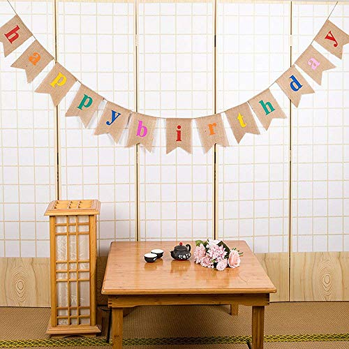 Esonmus Happy Birthday Banner Colorful Bunting Banner Garland Flags for Birthday Party Decorations -