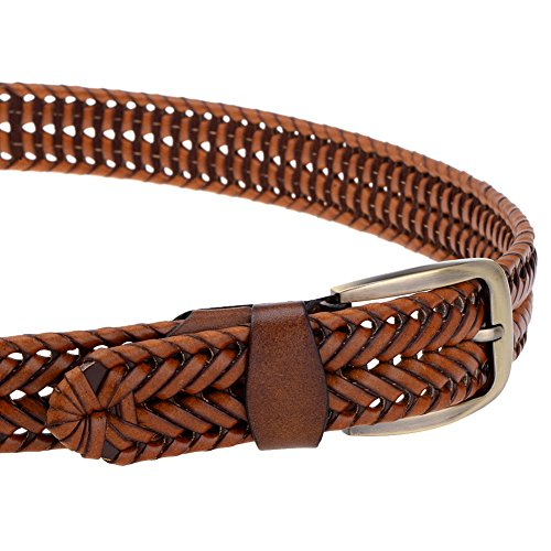 Vbiger 33mm Woven Braided Belt for Men & Women Genuine Leather Brown and Black (one size, Tan)