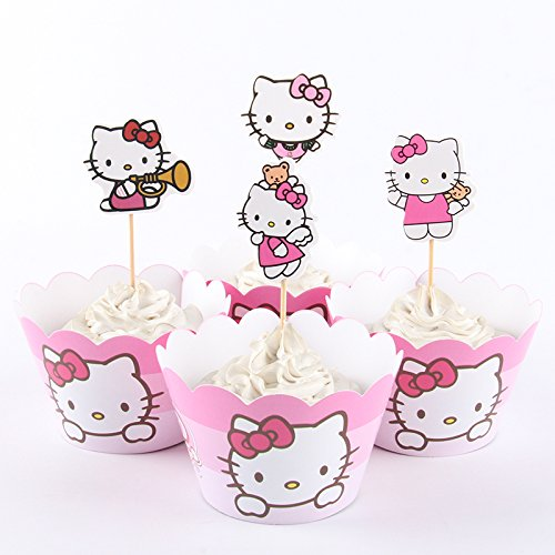 New HELLO KITTY Cupcake Toppers & Wrappers Party Decoration Supplies by TopStuffsz (Serve 12)