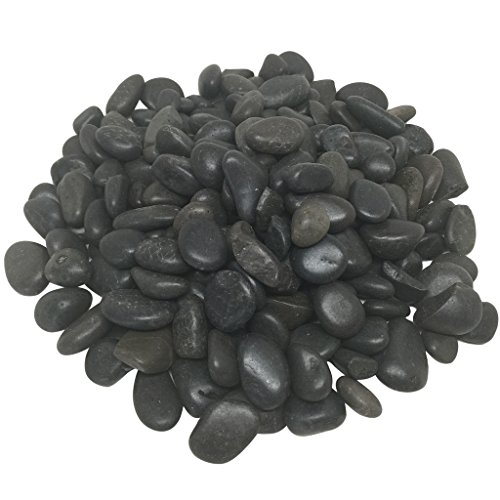 Decorative Rocks, 5 lbs Polished River Rocks, Pebbles In net Bag by Royal Imports for Aquariums, Vase Fillers, Landscaping and Home Decor - Black (Home Pets Framed Tile)