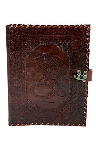 "Embossed Organizer - Imperial - Moon Dragon Embossed Genuine Leather Organizer ideal for Professional Padfolio Portfolio, Document Holder, Business Case Organizer, Resume, Interview Folder with Brass Closure (13 X 10"")"
