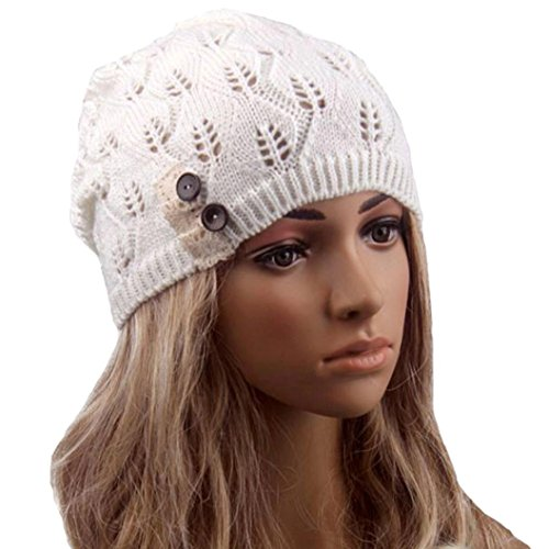 Hat ,BeautyVan Vintage Leaves Hollow Out Knitting Hat (White)