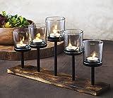 Le'raze Elegant, Decorative Votive Candle Holder Centerpiece, 5 Glass Votive Cups On Wood Base/Tray for Wedding Decoration Dining Table