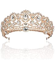 ANBALA Bridal Queen Tiara Crown, Luxury Bling Crystal Bridal Headband Prom Queen Pageant Princess Crown Hair Accessories for Women, Rose Gold
