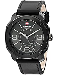 """Men's 01.1051.108 """"Escort"""" Stainless Steel Watch with Black Leather Band"""