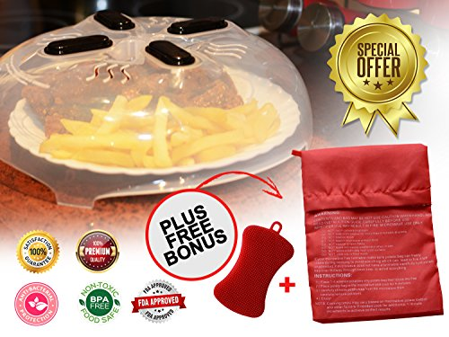 Premium Quality Microwave Magnetic Anti Splatter Plate Cover-Hover Cover Designed in USA with BPA free materials-Plus BONUS Potato Cooking Bag and Antibacterial Silicone Sponge Antibacterial Bags