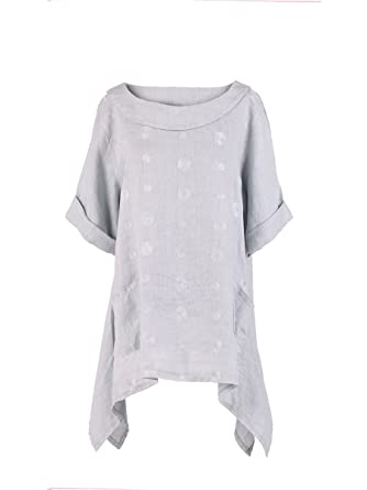 0bf429b8319 LushStyleUK New Ladies Italian Embroidered Linen Tunic Top Women Lagenlook  Top Plus Sizes (Light Grey): Amazon.co.uk: Clothing