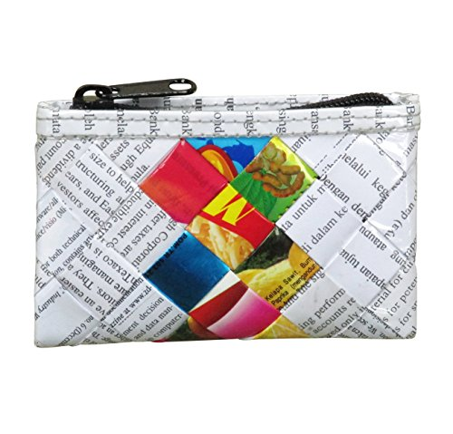 Zip coin purse made of candy wrappers and office document paper - Free standard shipping - Upcycling by Milo