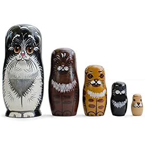 """6.5"""" Set of 5 Cats - Persian, Maine Coon, Exotic, Siamese, Abyssinian Wooden Russian Nesting Dolls"""