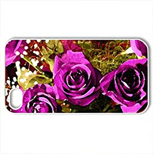 Beautiful rose - Case Cover for iPhone 4 and 4s (Flowers Series, Watercolor style, White)
