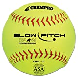 Champro ASA Tournament Slow Pitch Leather Cover, Red Stiches (Optic Yellow, 11-Inch)