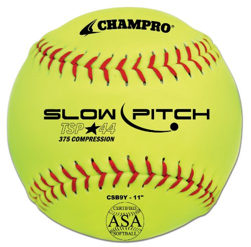 Champro ASA Tournament Slow Pitch Leather Cover, Red Stiches (Optic Yellow, 11-Inch) by Champro