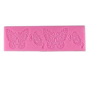 sphtoeo 2pcs forma de mariposa molde de silicona Encaje Moldes de Pastel Fondant Herramientas para Decoración de Tartas DIY herramientas silicona Chocolate ...