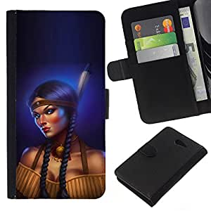 All Phone Most Case / Oferta Especial Cáscara Funda de cuero Monedero Cubierta de proteccion Caso / Wallet Case for Sony Xperia M2 // Indian Woman Feather Long Braid Boobs