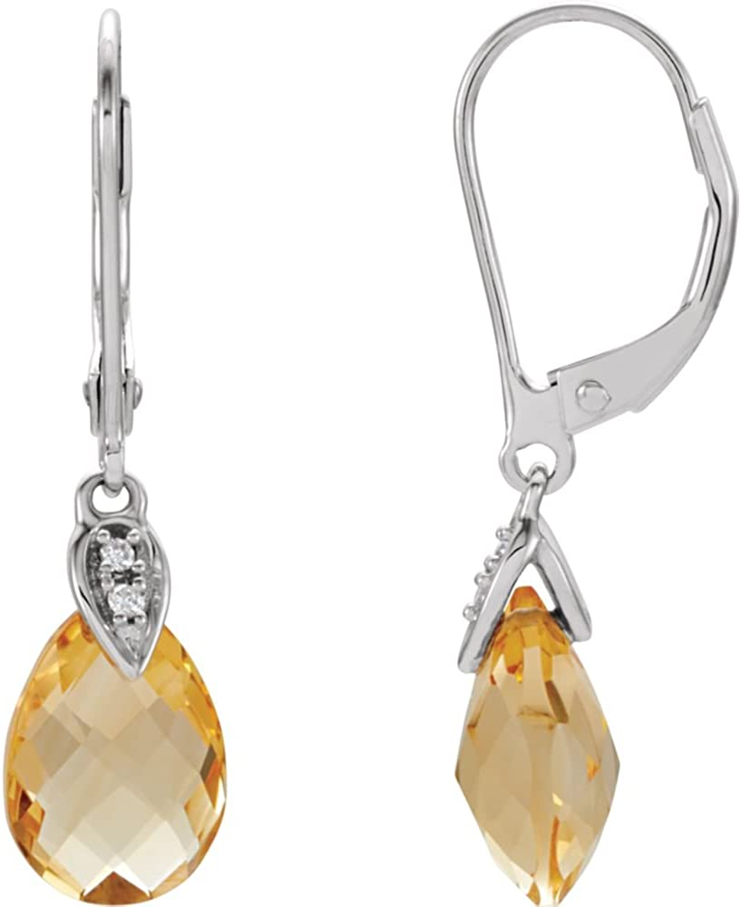 Pendientes de oro blanco de 14 quilates con diseño de citrino y diamantes de imitación 025Ctw