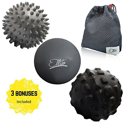 Super Textured Foam Balls (Therapeutic Massage Ball Set: Eliminate Pain! Rubber, Spikes & Foam Roller Massager Balls. Myofascial Release, Trigger Point & Plantar Fasciitis Therapy. Releases Muscle Aches + VIDEO GUIDE)