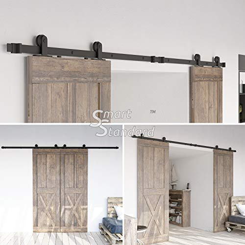 10ft Heavy Duty Sturdy Double Door Sliding Barn Door Hardware Kit - Super Smoothly and Quietly - Simple and Easy to Install - Includes Step-by-Step Instruction -Fit 30'' Wide Door Panel(T Shape Hanger) by SMARTSTANDARD (Image #1)
