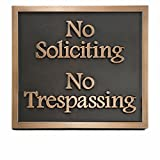Privacy Business No Soliciting Plaque 11x10 - Made in the USA by Atlas Signs and Plaques - Raised Bronze Metal Coated Sign