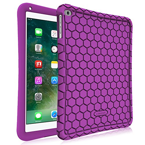 Fintie iPad 9.7 2018 2017 / iPad Air 2 / iPad Air Case - [Honey Comb Series] Light Weight Anti Slip Kids Friendly Shock Proof Silicone Protective Cover for iPad 6th / 5th Gen, iPad Air 1 2, Purple