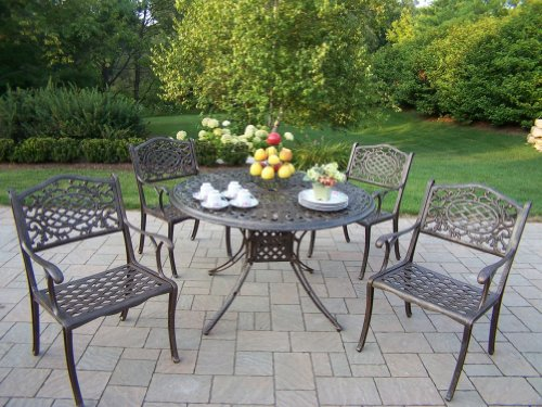 Oakland Living Capitol Cast Aluminum 48-Inch Table and Mississippi 5-Piece Antique Bronze Dining Set