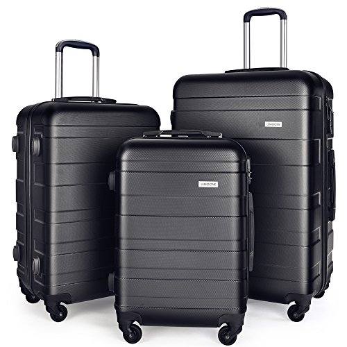 Luggage Set Suitcase Set 3 Piece Luggage Lightweight Hard Shell with 4 Rolling Spinner Wheels Waterproof Suitcase (20 inch, 24 inch, 28 inch)(Black) 3 Piece Rolling Luggage Suitcase