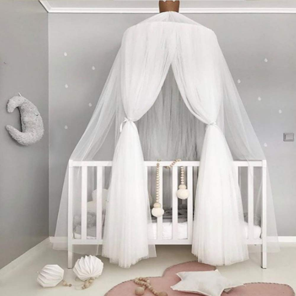 Abreeze Princess Bed Canopy,White Mosquito Net Canopy,Yarn Round Lace Dome Netting Curtains Baby Boys and Girls Games House,White