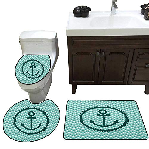 Moeeze-Home Anchor Three-Piece Toilet seat pad Custom Horizontal Zig Zag Pattern Background Anchor Image Circle Shape Medallion Super Absorbent Toilet mats Dark Green - Medallion Anchor Seat