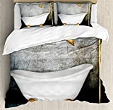 Retro Duvet Cover Set King Size by Ambesonne, Vintage Bathtub in Room With Grunge Wall Lifestyle Resting Spa Theme Art Print, Decorative 3 Piece Bedding Set with 2 Pillow Shams, Grey White Gold