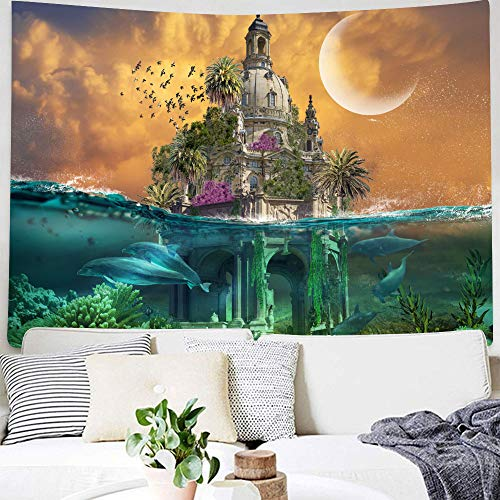 DBLLF Castle Tapestry Wall Hanging Fantasy Tapestry Arabian Castle at Ocean Oriental Fairy Tale Palace Landscape Illustration for Bedroom Living Room Dorm Party Wall Decor 80X60 Inches DBLS365