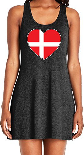 Amdesco Ladies Denmark Heart Flag, Heart Shaped Danish Flag Casual Racerback Tank Dress, Black Large