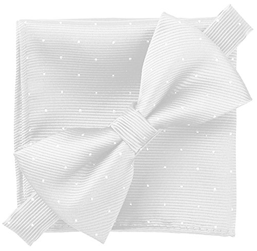 Flairs New York Gentleman's Essentials Bow Tie and Pocket Square Matching Set (Porcelain White [Glitter Dot Print])