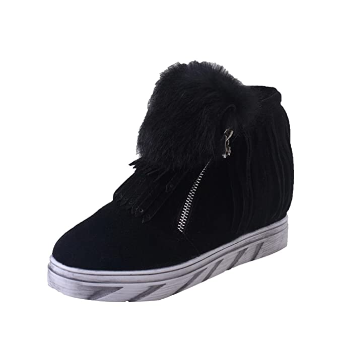 eb9ca98aef9e2 Amazon.com: Women Wedge Sneaker,Faux Wedge Hidden Heel Hook&Loop ...